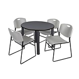 Regency Kee 36 Round Breakroom Table- Grey/ Black & 4 Zeng Stack Chairs- Grey (TB36RDGYPBK44GY)