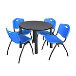 Regency Kee 36 Round Breakroom Table- Grey/ Black & 4 M Stack Chairs- Blue (TB36RDGYPBK47BE)