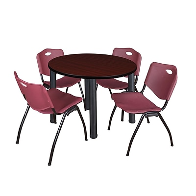 Regency Kee 36 Round Breakroom Table- Mahogany/ Black & 4 M Stack Chairs- Burgundy (TB36RDMHPBK47BY)