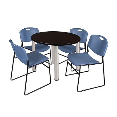 Regency Kee 36 Round Breakroom Table- Mocha Walnut/ Chrome & 4 Zeng Stack Chairs- Blue (TB36RDMWPCM44BE)