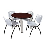 Regency Kee 36 Round Breakroom Table- Mahogany/ Chrome & 4 M Stack Chairs- Grey (TB36RDMHPCM47GY)
