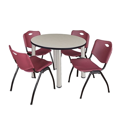 Regency Kee 36 Round Breakroom Table- Maple/ Chrome & 4 M Stack Chairs- Burgundy (TB36RDPLPCM47BY)