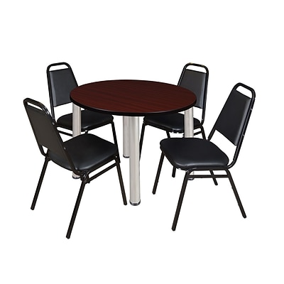 Regency Kee 36 Round Breakroom Table- Mahogany/ Chrome & 4 Restaurant Stack Chairs- Black (TB36RDMHPCM29BK)
