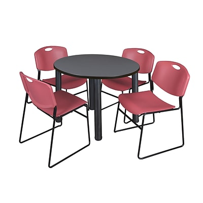 Regency Kee 36 Round Breakroom Table- Grey/ Black & 4 Zeng Stack Chairs- Burgundy (TB36RDGYPBK44BY)