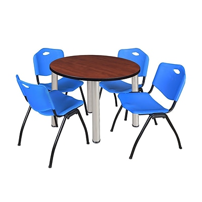 Regency Kee 36 Round Breakroom Table- Cherry/ Chrome & 4 M Stack Chairs- Blue (TB36RDCHPCM47BE)