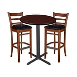 Regency 30 Round Café Table- Mahogany & 2 Zoe Café Stools- Cherry/Black (TCB30RDMH95)