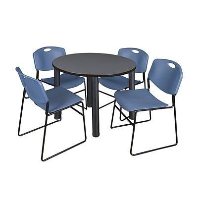 Regency Kee 36 Round Breakroom Table- Grey/ Black & 4 Zeng Stack Chairs- Blue (TB36RDGYPBK44BE)