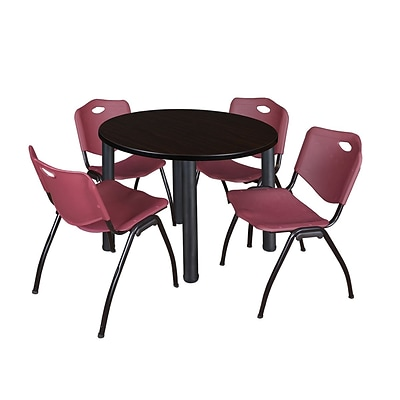 Regency Kee 36 Round Breakroom Table- Mocha Walnut/ Black & 4 M Stack Chairs- Burgundy (TB36RDMWPBK47BY)