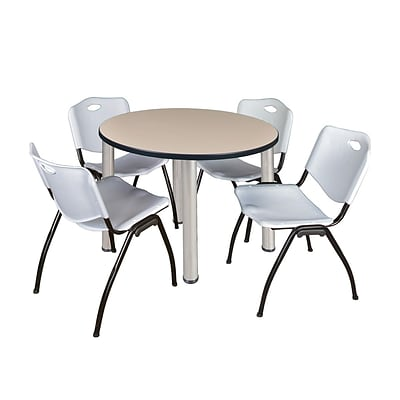 Regency Kee 36 Round Breakroom Table- Beige/ Chrome & 4 M Stack Chairs- Grey (TB36RDBEPCM47GY)
