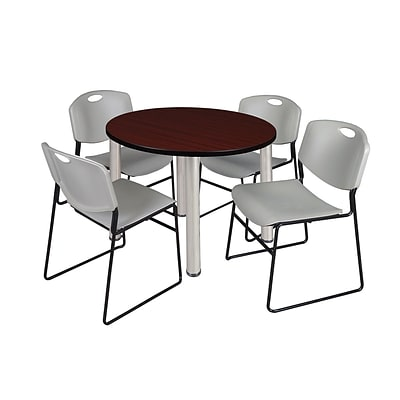 Regency Kee 36 Round Breakroom Table- Mahogany/ Chrome & 4 Zeng Stack Chairs- Grey (TB36RDMHPCM44GY)