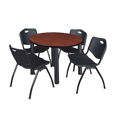 Regency Kee 36 Round Breakroom Table- Cherry/ Black & 4 M Stack Chairs- Black (TB36RDCHPBK47BK)