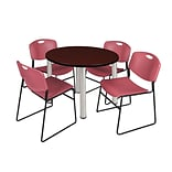 Regency Kee 36 Round Breakroom Table- Mahogany/ Chrome & 4 Zeng Stack Chairs- Burgundy (TB36RDMHPCM
