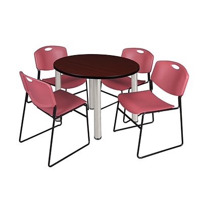 Regency Kee 36 Round Breakroom Table- Mahogany/ Chrome & 4 Zeng Stack Chairs- Burgundy (TB36RDMHPCM44BY)