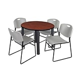Regency Kee 36 Round Breakroom Table- Cherry/ Black & 4 Zeng Stack Chairs- Grey (TB36RDCHPBK44GY)