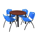 Regency Kee 36 Round Breakroom Table- Cherry/ Black & 4 M Stack Chairs- Blue (TB36RDCHPBK47BE)