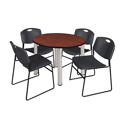 Regency Kee 36 Round Breakroom Table- Cherry/ Chrome & 4 Zeng Stack Chairs- Black (TB36RDCHPCM44BK)