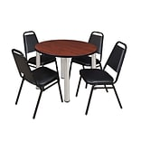 Regency Kee 36 Round Breakroom Table- Cherry/ Chrome & 4 Restaurant Stack Chairs- Black (TB36RDCHPC