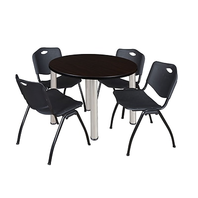 Regency Kee 36 Round Breakroom Table- Mocha Walnut/ Chrome & 4 M Stack Chairs- Black (TB36RDMWPCM47BK)
