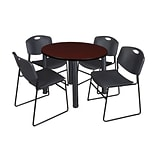 Regency Kee 36 Round Breakroom Table- Mahogany/ Black & 4 Zeng Stack Chairs- Black (TB36RDMHPBK44BK