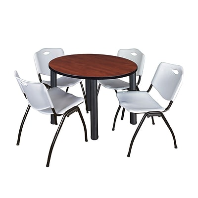 Regency Kee 36 Round Breakroom Table- Cherry/ Black & 4 M Stack Chairs- Grey (TB36RDCHPBK47GY)