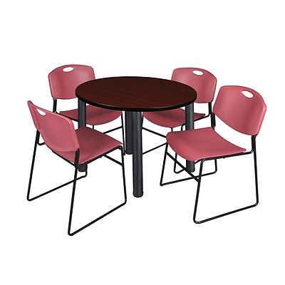 Regency Kee 36 Round Breakroom Table- Mahogany/ Black & 4 Zeng Stack Chairs- Burgundy (TB36RDMHPBK44BY)