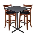 Regency 30 Square Café Table- Grey & 2 Zoe Café Stools- Cherry/Black (TCB3030GY95)