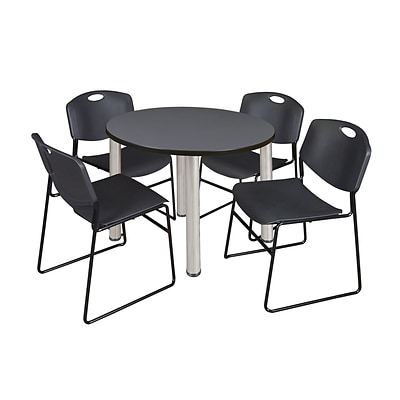 Regency Kee 36 Round Breakroom Table- Grey/ Chrome & 4 Zeng Stack Chairs- Black (TB36RDGYPCM44BK)