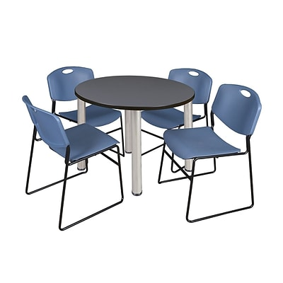 Regency Kee 36 Round Breakroom Table- Grey/ Chrome & 4 Zeng Stack Chairs- Blue (TB36RDGYPCM44BE)