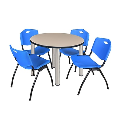Regency Kee 36 Round Breakroom Table- Beige/ Chrome & 4 M Stack Chairs- Blue (TB36RDBEPCM47BE)