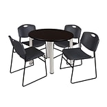 Regency Kee 36 Round Breakroom Table- Mocha Walnut/ Chrome & 4 Zeng Stack Chairs- Black (TB36RDMWPC