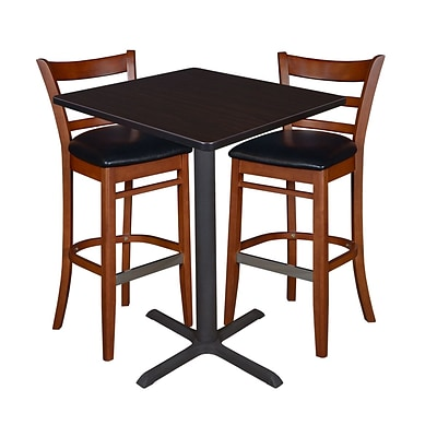 Regency 30 Square Café Table- Mocha Walnut & 2 Zoe Café Stools- Cherry/Black (TCB3030MW95)