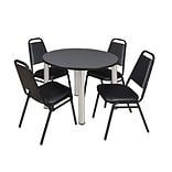Regency Kee 36 Round Breakroom Table- Grey/ Chrome & 4 Restaurant Stack Chairs- Black (TB36RDGYPCM2