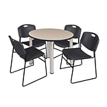 Regency Kee 36 Round Breakroom Table- Beige/ Chrome & 4 Zeng Stack Chairs- Black (TB36RDBEPCM44BK)