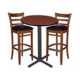 Regency 30 Round Café Table- Cherry & 2 Zoe Café Stools- Cherry/Black (TCB30RDCH95)