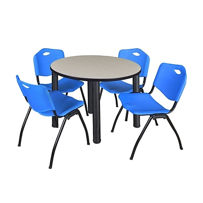Regency Kee 36 Round Breakroom Table- Maple/ Black & 4 M Stack Chairs- Blue (TB36RDPLPBK47BE)