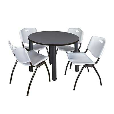 Regency Kee 36 Round Breakroom Table- Grey/ Black & 4 M Stack Chairs- Grey (TB36RDGYPBK47GY)