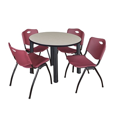 Regency Kee 36 Round Breakroom Table- Maple/ Black & 4 M Stack Chairs- Burgundy (TB36RDPLPBK47BY)