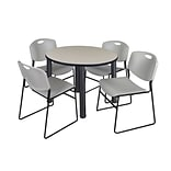 Regency Kee 36 Round Breakroom Table- Maple/ Black & 4 Zeng Stack Chairs- Grey (TB36RDPLPBK44GY)