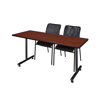 Regency 60L x 24W  Kobe Training Table- Cherry & 2 Mario Stack Chairs- Black (MKTR6024CH75BK)