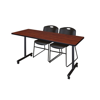 Regency 72L x 24W  Kobe Mobile Training Table- Cherry & 2 Zeng Stack Chairs- Black (MKCC7224CH44BK)