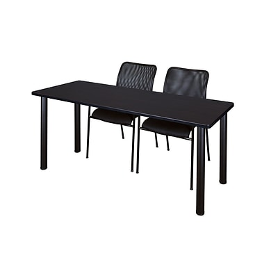 Regency 72L x 24W  Kee Training Table- Mocha Walnut/ Black & 2 Mario Stack Chairs- Black (MT7224MWPBK75BK)