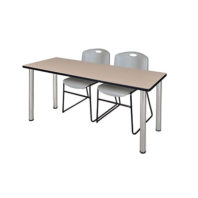 Regency 66L x 24W  Kee Training Table- Beige/ Chrome & 2 Zeng Stack Chairs- Grey (MT6624BEPCM44GY)