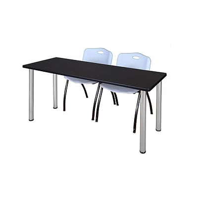 Regency 72L x 24W  Kee Training Table- Mocha Walnut/ Chrome & 2 M Stack Chairs- Grey (MT7224MWPCM47GY)