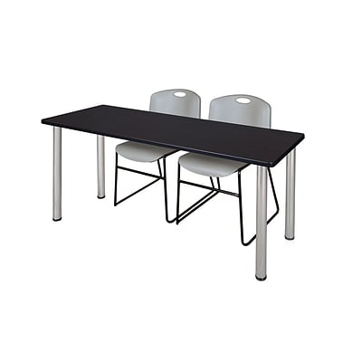 Regency 72L x 24W  Kee Training Table- Mocha Walnut/ Chrome & 2 Zeng Stack Chairs- Grey (MT7224MWPCM44GY)