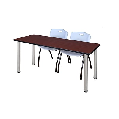 Regency 72L x 24W  Kee Training Table- Mahogany/ Chrome & 2 M Stack Chairs- Grey (MT7224MHPCM47GY)