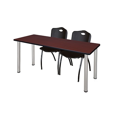 Regency 72L x 24W  Kee Training Table- Mahogany/ Chrome & 2 M Stack Chairs- Black (MT7224MHPCM47BK)