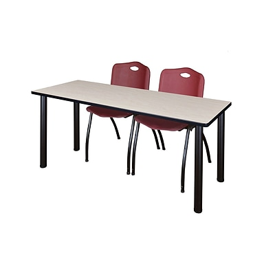 Regency 72L x 24W  Kee Training Table- Maple/ Black & 2 M Stack Chairs- Burgundy (MT7224PLPBK47BY)