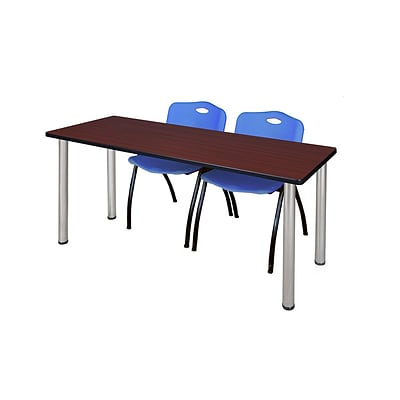 Regency 72L x 24W  Kee Training Table- Mahogany/ Chrome & 2 M Stack Chairs- Blue (MT7224MHPCM47BE)