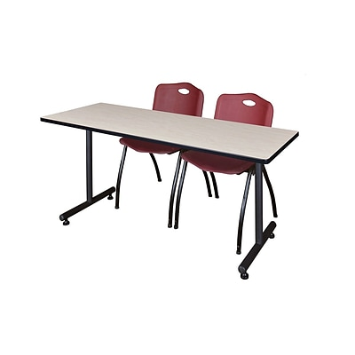 Regency 72L x 24W  Kobe Training Table- Maple & 2 M Stack Chairs- Burgundy (MKTR7224PL47BY)