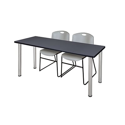 Regency 66L x 24W  Kee Training Table- Grey/ Chrome & 2 Zeng Stack Chairs- Grey (MT6624GYPCM44GY)